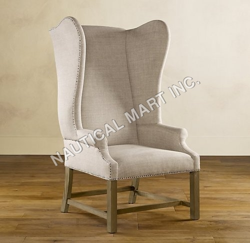 VINTAGE FRENCH UPHOLSTERED WING CHAIR
