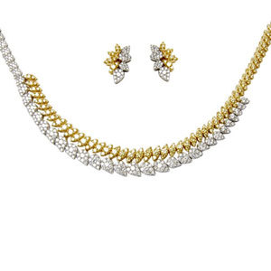 Two tone Gold Diamond Necklace in Pressure Setting
