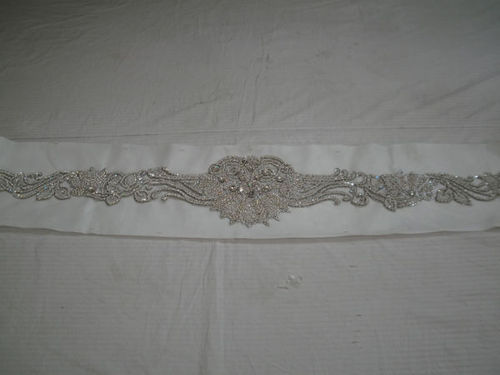 belt with crystal embroidery