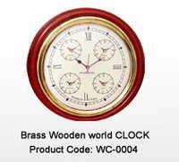 Brass Wooden World Clock
