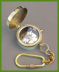 Solid Brass Miniature Compass Key Chain
