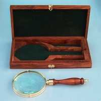 Brass and Hardwood Hand magnifier with hardwood case
