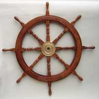Wooden Ship Wheel Brass Fitted