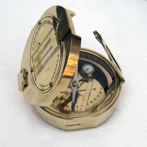 Solid Brass Brunton Compass in Hardwood Box