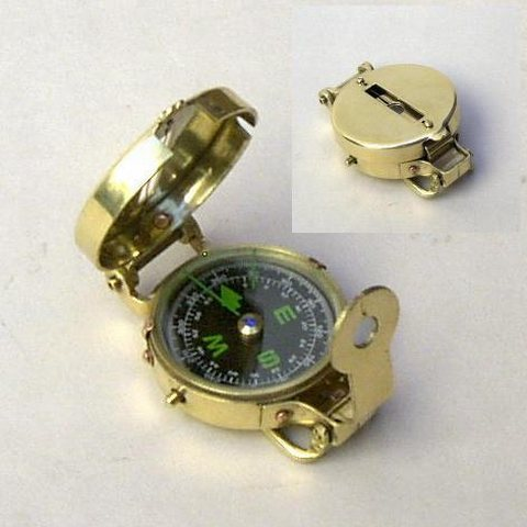 Solid Brass Military Style Pocket Compass