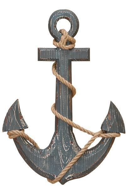 18 in Wood Ship Anchor With Rope Nautical Decor