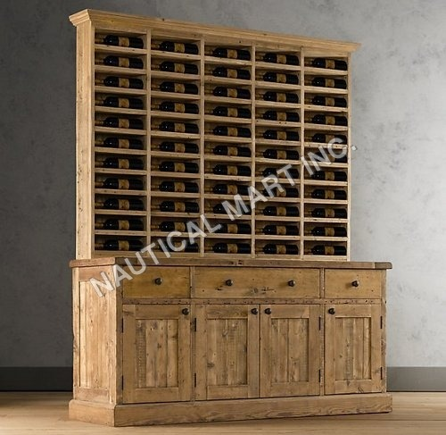 VINTAGE SALVAGED WOOD VINTNER'S HUTCH