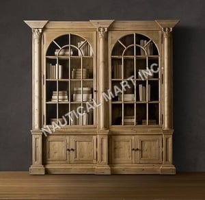 VINTAGE PALLADIAN SALVAGED PINE LIBRARY BOOKCASE DOUBLE