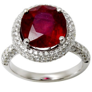 Micro Pave Setting Diamonds Ruby Ring Supplier