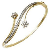 Floral Cluster Yellow Gold Diamond Half Bangle