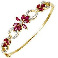 Marquise Cut Ruby Diamond Half Bangle Supplier