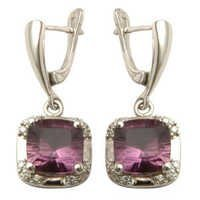 Amethyst Silver Earrings with english locks