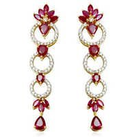 Ruby Diamond Long Earrings