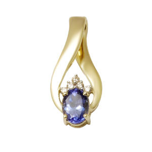 Small Tanzanite Gold Pendants
