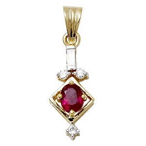 Small Ruby and Gold Pendants