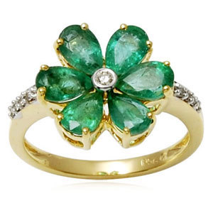 Pear Cut Floral Emerald Gold Ring