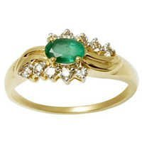 Oval Cut Centre Emerald Ring In Gold