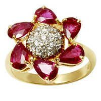 Diamond Studded Dome Gold Ruby Ding