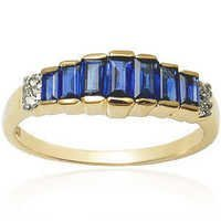 Baguette Cut Sapphire Ring For Men