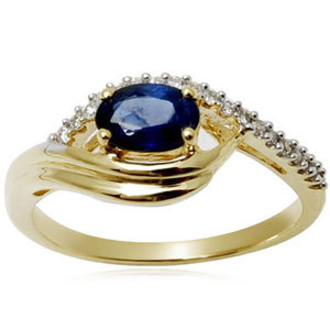 Designer Sapphire Oval Cut Gold Ring Wholesaler