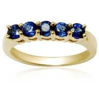 5 stone Sapphire gold gemstone band