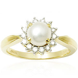 Sea Water Pearl Round Diamond Gold Ring