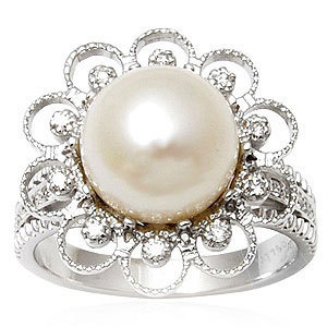 Tiny Diamond White Pearl Ring Manufacturer