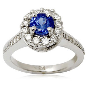 Tanzanite ring with diamonds and white gold
