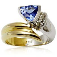 Two Tone Tanzanite Gold Ring