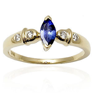 Cheap Tanzanite gold ring, blue sapphire ring