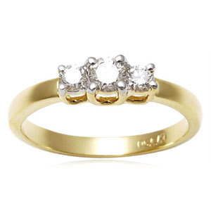 Three Stone Diamond Engagement Gold Rings For Sale