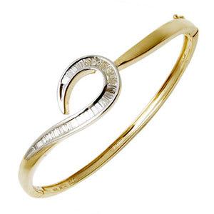 Baguette Cut Diamond Studded Yellow Gold Bangle