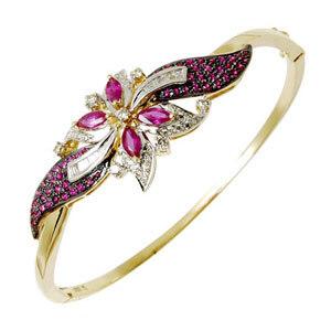 Black Enamel Diamond Ruby Half Bangle