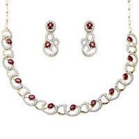 Diamond and ruby gold Necklaces