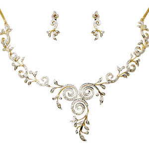 Light Weight Circular Design Diamond Necklace Set