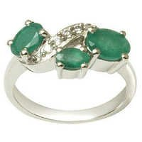Emerald Silver Rings three stone ring
