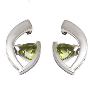 Small Silver Earrings in Peridot earring