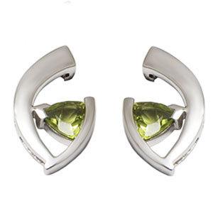 Small Silver Earrings in Peridot earring
