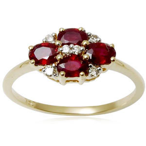 Cluster Oval Red Ruby Gold Diamond Ring