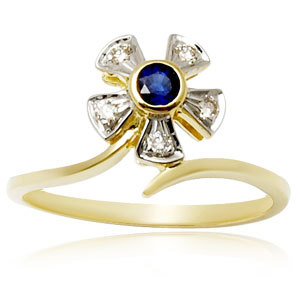 Affordable Sapphire Gold Rings round shaped ring