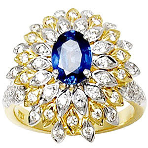 Party Wear Big Yellow Gold Diamond Ring