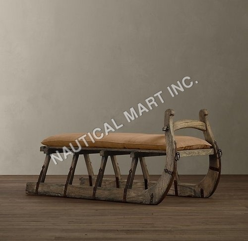 Vintage Antique Hungarian Sleigh Bench