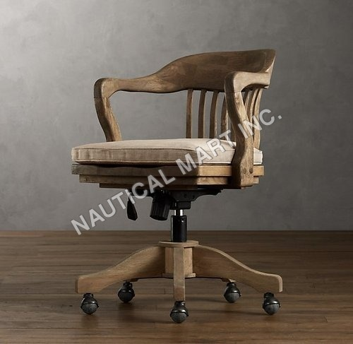 VINTAGE WOOD OFFICE CHAIR ANTIQUED BLACK