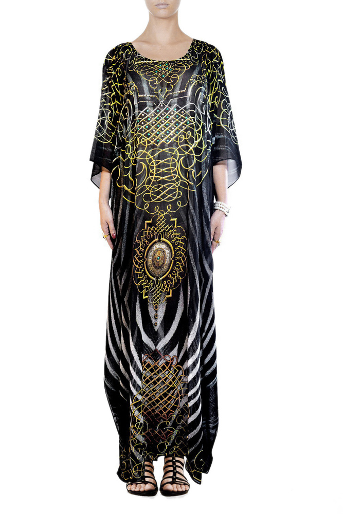 Animal Print Zebra Design Long Embellished Kaftan