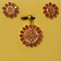 Real Ruby Pendant Set