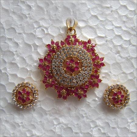 American Diamond Red Stone Set