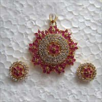 American Diamond Red Stone Set