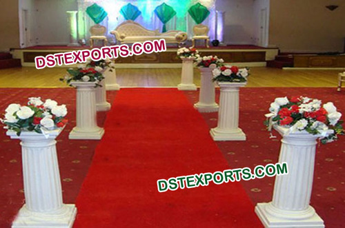 Wedding Aisleway Fiber Roman Pillars