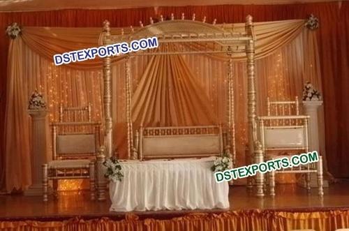 Asian Wedding Stage With Royal Jhula Set