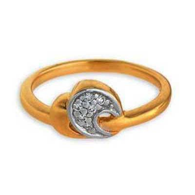 Ag Real Diamond Bright Fancy Half Moon Shape Ring